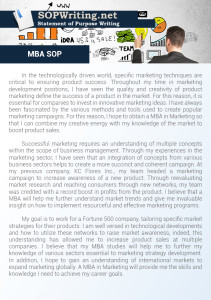 Statement of Purpose Sample for MBA