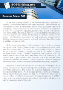 Business School Statement of Purpose Sample