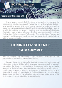 Computer Science Statement of Purpose Example