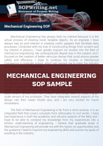 Mechanical Engineering Statement of Purpose Example