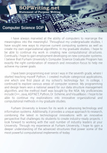 Statement of Purpose Computer Science