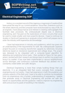 Statement of Purpose Electrical Engineering Sample