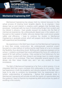 Statement of Purpose Mechanical Engineering Sample