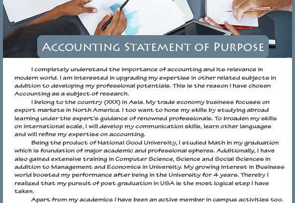 How To Write Best Sample Statement Of Purpose Accounting