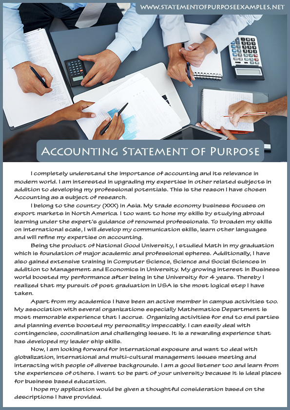 Best Sample Statement Of Purpose Accounting  Best Sample