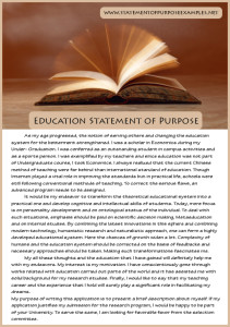 best sample statement of purpose education