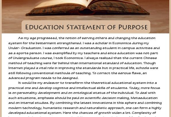 statement of purpose in education Statement of purpose of the education and training advisory board  background 1 since the merger of pmetb with the gmc in 2010, one  organisation has.