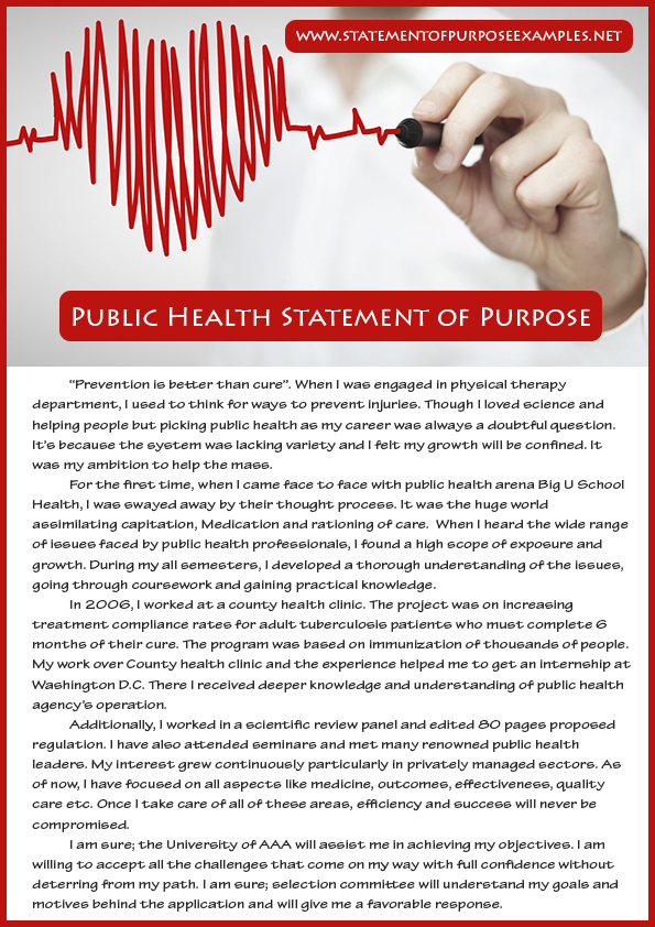 How To Write Public Health Statement Of Purpose Sample