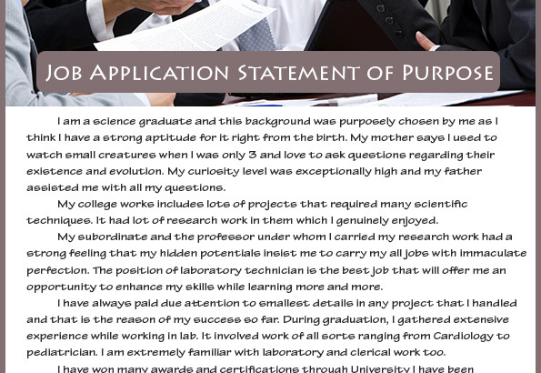 statement of purpose sample for job application