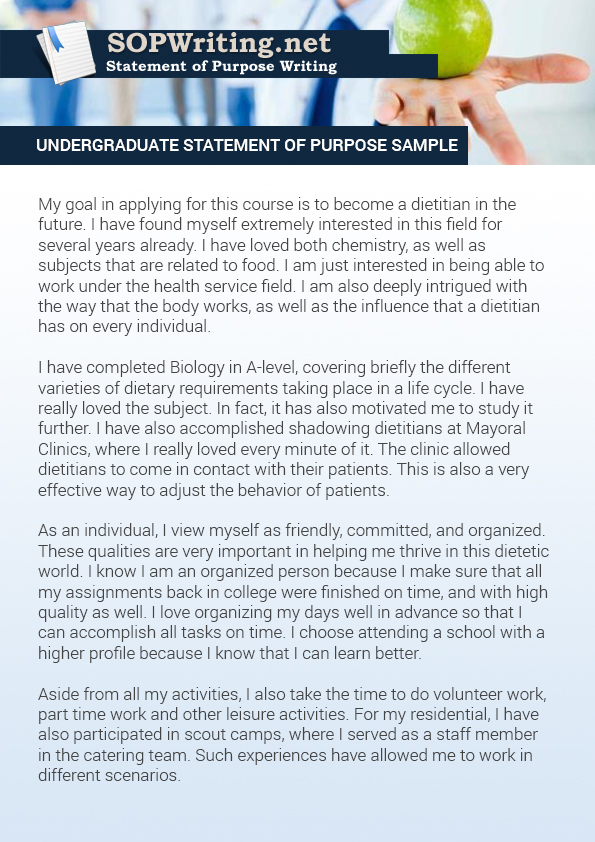 An Impressive Undergraduate Statement Of Purpose Sample