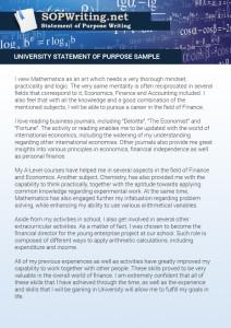 university statement of purpose sample