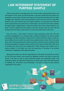 law internship statement of purpose sample